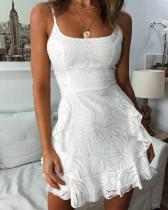 Printed Ruffled Sleeveless Camisole Dress