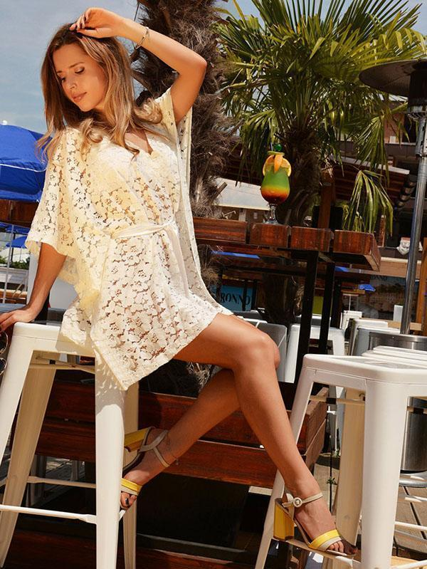 Lace Hollow Solid Sexy Beach Cover-ups