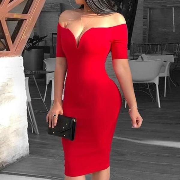 One-shoulder V-neck Solid Color Classic Temperament Bodycon Dress
