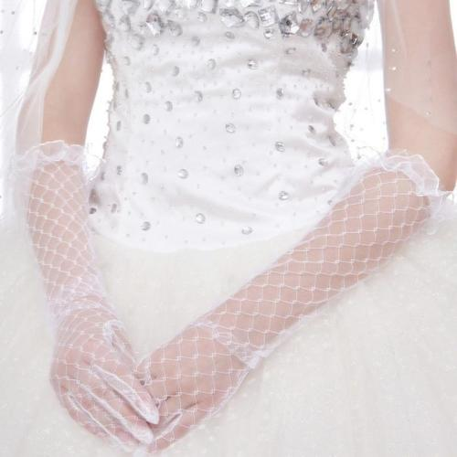 Women Lace Bridal Long Gloves Elbow Length Full Finger Wedding Accessories White