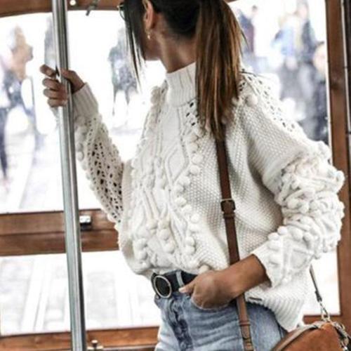 High Neck  Embossed Plain Knitwear