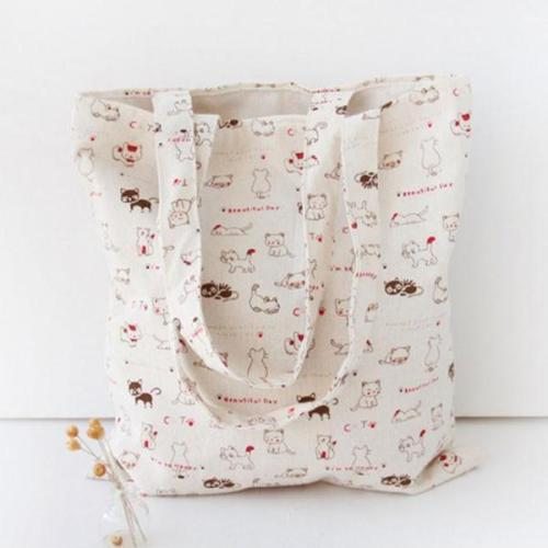 Cat Printed Linen Shoulder Bag