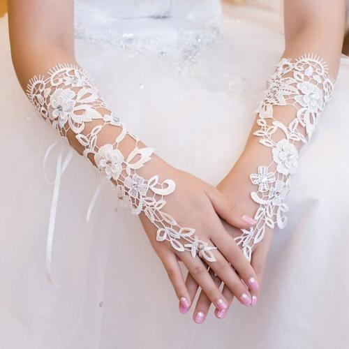 White Long Lace Beaded Wedding Gloves for Bride with Crystals Flower Fingerless Bridal Gloves Women Wedding Accessories VL