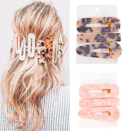 3Pcs Acetate Hollow Hair Clip For Women Leopard Marble Textured  Geometric Water Drop Duckbill Barrette Hairpin Hair Accessories