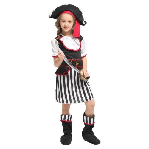 Halloween Costumes for Girls Black White Elegant Pirate Costume Suit Party Carnival Dress