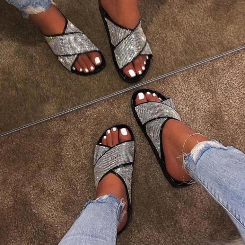 Fashion Blingbling Diamond Flat Slippers