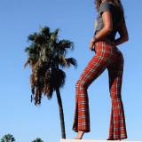 Casual Plaid Printed   Slim Micro Horn Pants