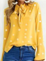 Autumn Spring  Women  Tie Collar  Polka Dot  Bell Sleeve  Long Sleeve Blouses