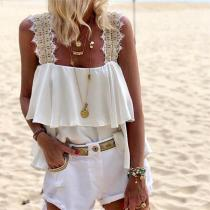 Fashion Suspended Lace Stitched T Shirt