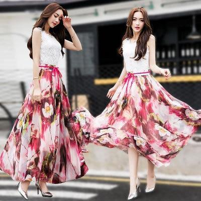 Long Floral Skirts Womens Holiday Beach Boho Skirt Summer Long Skirts Elegant Ladies Maxi Chiffon Skirt 8M Big Swing