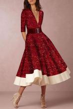 Elegant Fashion V Neck Skater Evening Dress