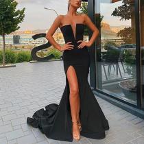 Elegant Sexy Deep V Tube Top Side Slit Evening Dress