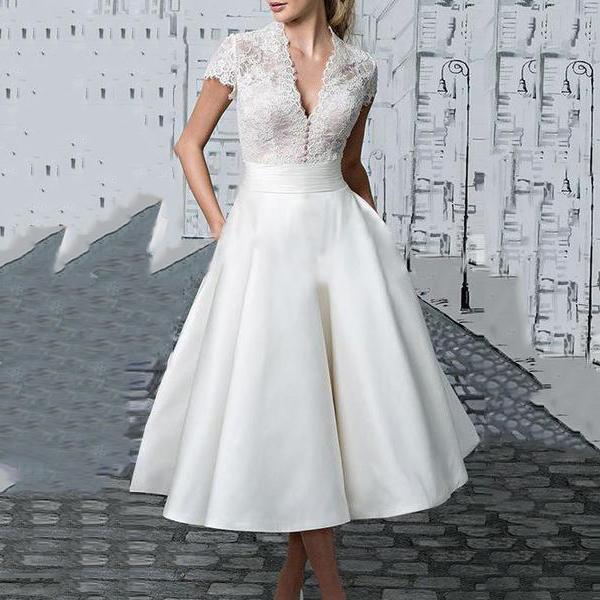 V-Neck  Lace Evening Dress