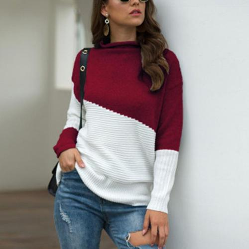 Irregular Sleeve High Collar Contrast Knit Sweater