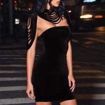 Fashion Velvet Tassel Hollow Out Bodycon Dress