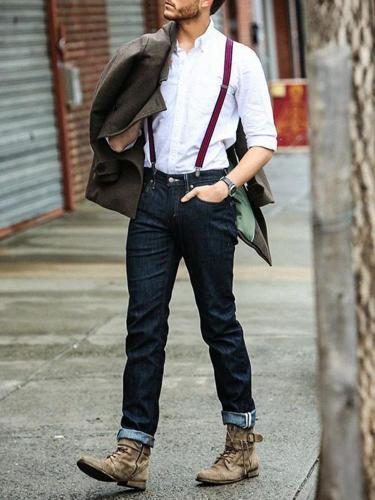 Fashion Men's Pure Colour Jeans