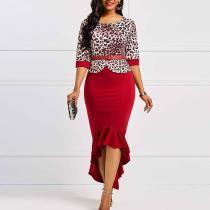 Leopard-Print Slim Ruffled Dress