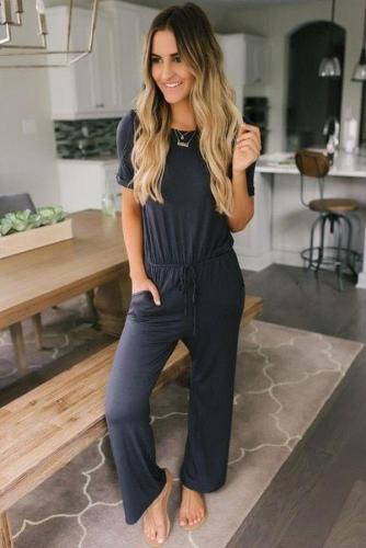 EBUYTIDE Simple Black Round Neck Short Sleeve Fitted Loungewear