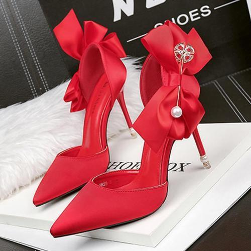 Elegant Satin Bow-Knot Wedding Party Shoes