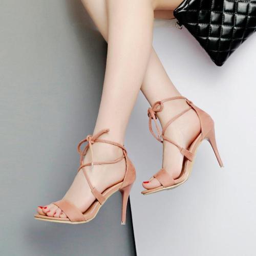 Open Toe Straps Ankle Wrap Stiletto High Heels Sandals