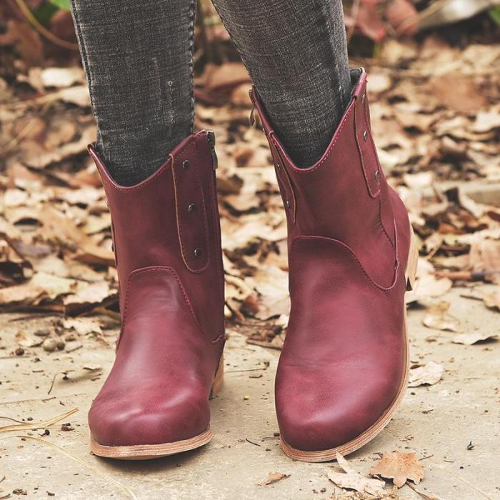 Rivet Vintage Mid-Calf Zipper Boots