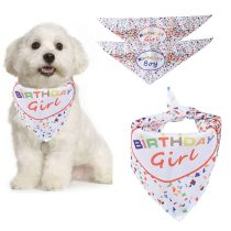 Pet Bandana Confetti Boy Girl Letter Print Dog Bandana Bib Pet Bib For Dog Cats Birthday Pet Dress Up Clothing Accessories