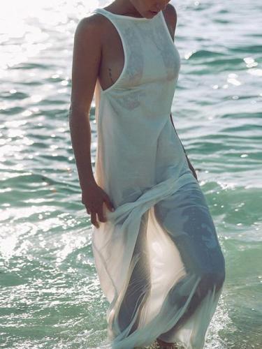 Chiffon Backless Sleeveless Maxi Dress Cover-Ups