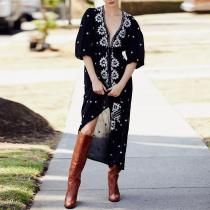 Sexy Deep V Halflong Puff Sleeves Slit Ankle-length Casual Maxi Dress