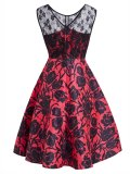 Red 1950s Lace Floral Dress