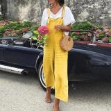 EBUYTIDE Bright Yellow Sling Casual Jumpsuit
