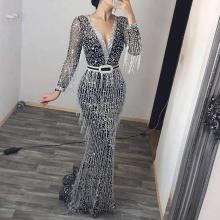 Sexy Deep V Long Sleeve Sequined Tassel Evening Gown