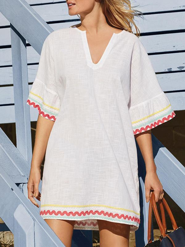 Lace V-neck Short Sleeves Cover-Ups