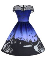1950s Halloween Print Mesh Dress