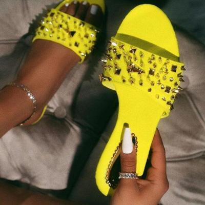 Rivet Slip-On Open Toe Slippers