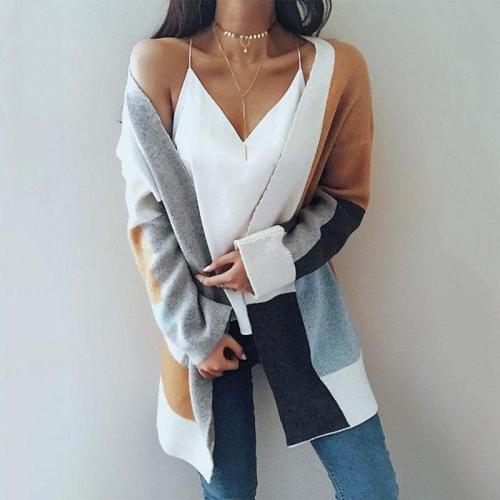 Color Block Patchwork Oversize Women Cocoon Long Cardigan