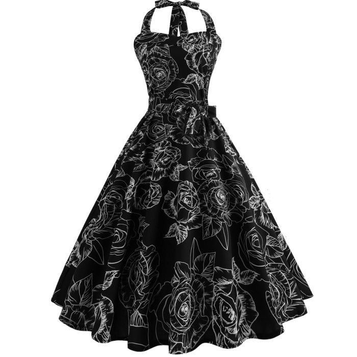 Strapless Women Summer Dress 2020 Robe Vintage Pin Up Floral Print Halter Swing 1950s 60s Retro Rockabilly Party Dresses