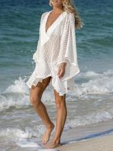 Lace Hollow Batwing Sleeves Kaftan Cover-up