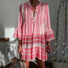 Printed Loose-Fashioned V-Neck Chiffon Pleated Mini Dress