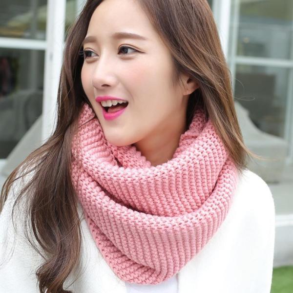 Women Winter Knitting Faux Wool Scarf Echarpe Red Pink Black Yellow Green Grey