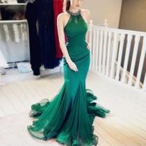 Fashion Elegant Sleeveless Halter Backless Evening Dress