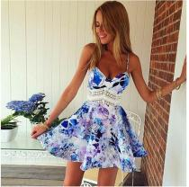 Flower Print Spaghetti Strap Sleeveless Open Back Short Dress
