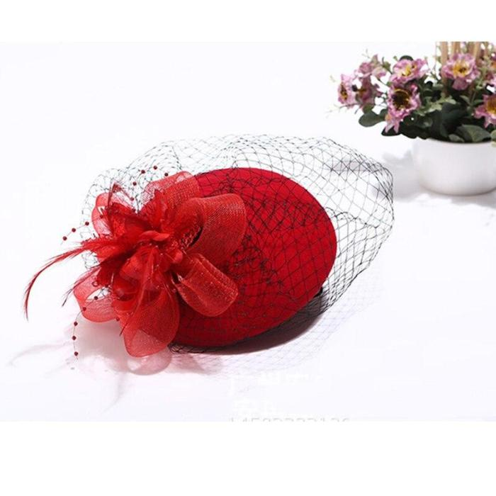 Romantic Women Bridal Hats and Fascinators Pearl Beaded Wedding Hat Black Bridal Party Gifts Veil Hair With Comb