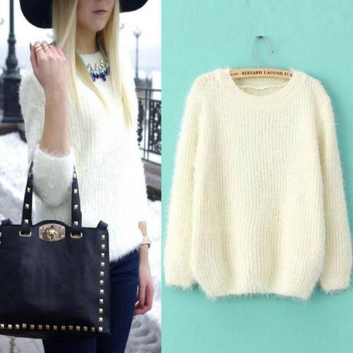 Loose Candy Colors Round Collar Long Sleeve Knitting Sweater