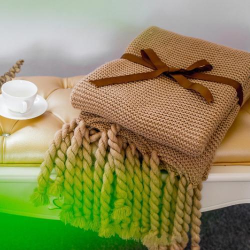 Knit Throw Blanket, Household Decorative Tassel Crochet Blanket Rug  50  x70