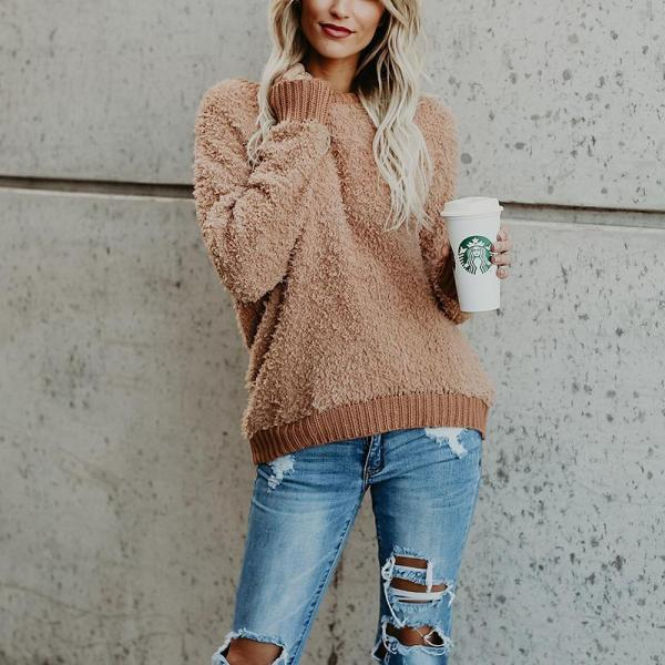 Thread Splice Pullover Solid Color Knit Sweater