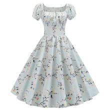 Robe Floral Femme Summer Dress 2020 Square Collar Short Sleeve Retro Women 50s 60s Vintage Dresses Rockabilly Party Dress Swing