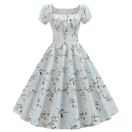 Robe Floral Femme Summer Dress 2020 Square Collar Short Sleeve Retro Women 50s 60s Vintage Dresses Rockabilly Party Dress Swing