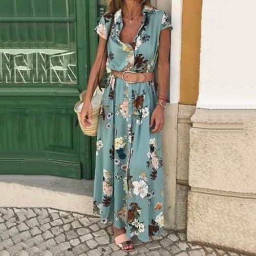 Floral Printed Short Sleeve Lapel Belt Maxi Dresses