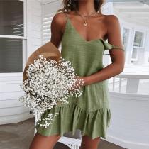 Fashion Sexy Strap V-Neck Halter Dress