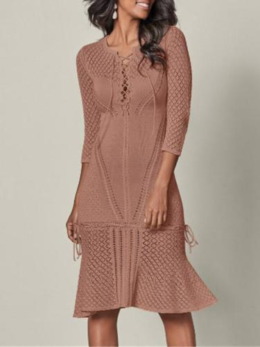 Bandage Crochet Hollow Midi Dresses